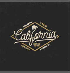 summer california label with bear and typography vector image