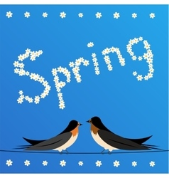 Swallows perched on a wire with sign spring vector
