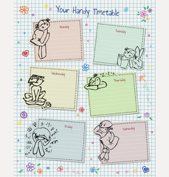 Timetable with doodles hearts and flowers vector
