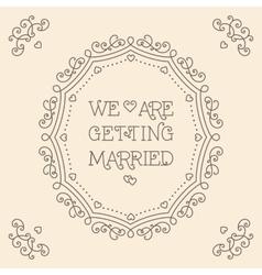 We are getting married card monogram beige vector