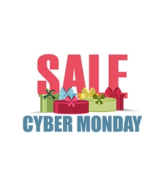 Cyber monday sales promotion gift box on white bac vector