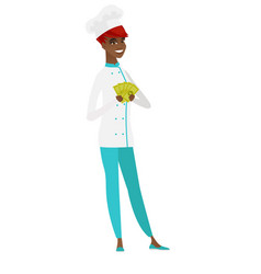 happy african-american chef cook holding money vector image