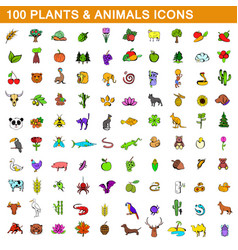 100 plants and animals icons set cartoon style vector