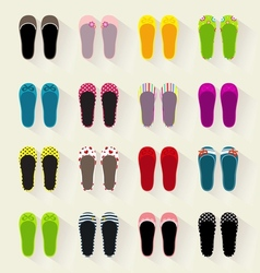 Ballerina shoes flat colorful set vector