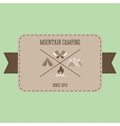 Mountain camping adventure badge graphic design vector