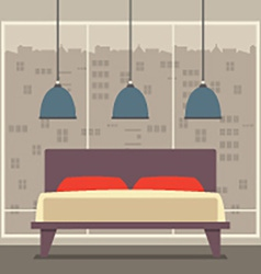 Flat design double bedroom vector