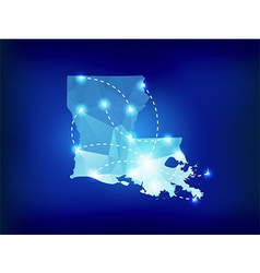 Louisiana state map polygonal with spotlights vector