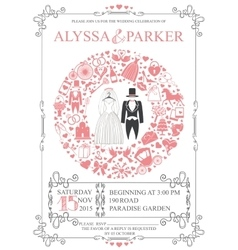Wedding invitation with wreath compositionretro vector