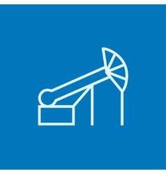 Pump jack oil crane line icon vector