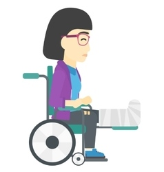 Patient sitting in wheelchair vector image