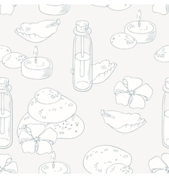 Aromatherapy and spa outline seamless pattern vector