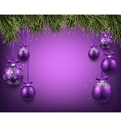 Background with purple christmas balls vector