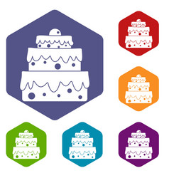 Big cake icons set hexagon vector