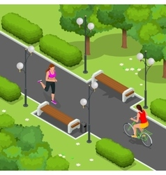Biker in park woman running cycling on bike path vector