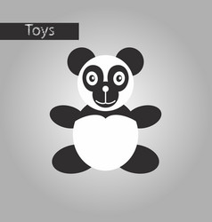 Black and white style icon toy panda vector