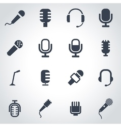 black microphone icon set vector image