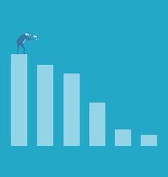 Business man looking at bar graph vector