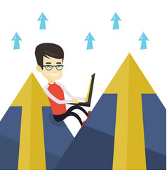 Business man working on laptop in the mountains vector