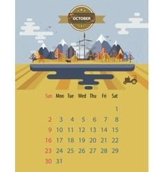Calendar of october vector