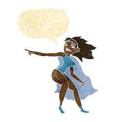 Cartoon superhero woman pointing with speech vector