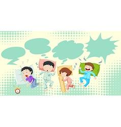Children sleeping in bed vector