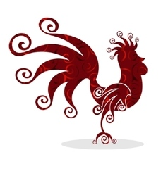 Cock red vintage fabulous silhouette pattern bird vector