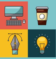 Creative process icon flat vector