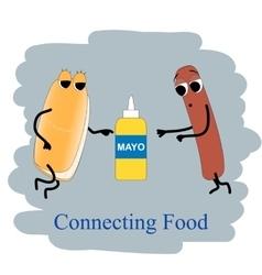 Fast food poster hotdog and mayonnaise vector