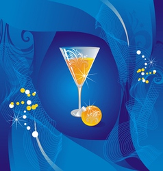 glass with champagne and a furtree sphere on a cel vector image vector image