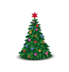 green christmas tree decorated with colorful vector image