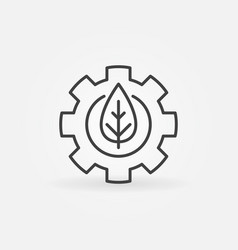 leaf in gear outline icon vector image