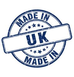 Made in uk blue grunge round stamp vector