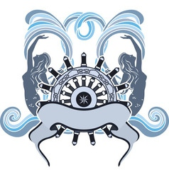 Marine emblem wheel and mermaid vector image vector image