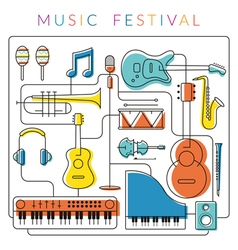 Music instruments objects background vector