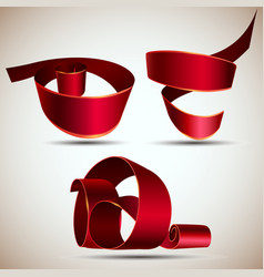 ribbon red isolated banner realistic white vector image