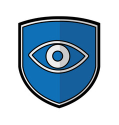 Shield insurance with human eye isolated icon vector