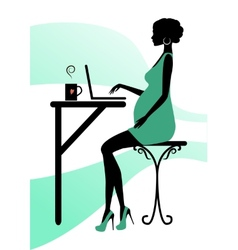 Silhouette of a fashionable pregnant woman vector image