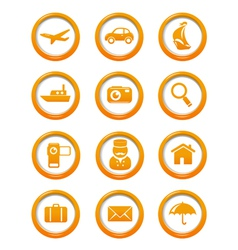 Travel and transportation web buttons set vector