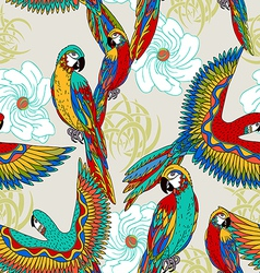 Vintage colorful background with parrots vector image