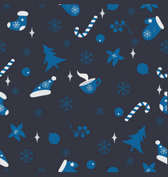 winter seamless pattern merry christmas new year vector image vector image