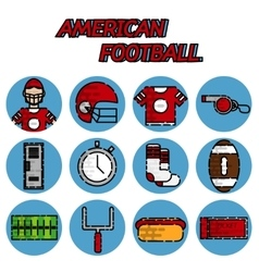 American football flat icon set vector image