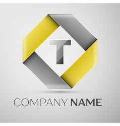 Letter T logo symbol in the colorful rhombus vector image