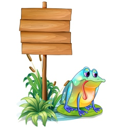 A sad frog above the waterlily beside the wooden vector image
