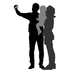 Silhouettes man and woman with a child make vector image
