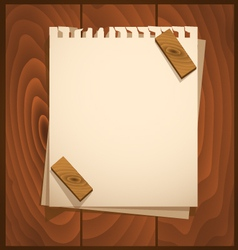 White paper with wood background vector