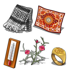 Carpet scarf thermometer ring and flower vector