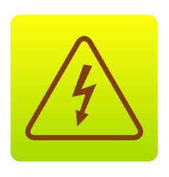 High voltage danger sign  brown icon at vector
