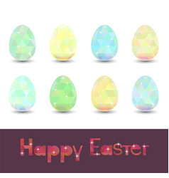 Set of easter eggs with spring polygonal ornament vector