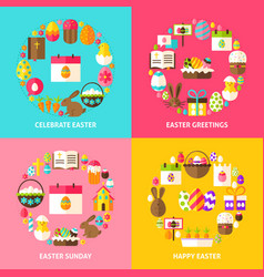 Happy easter concepts set vector