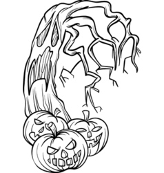 Halloween pumpkins with tree cartoon vector